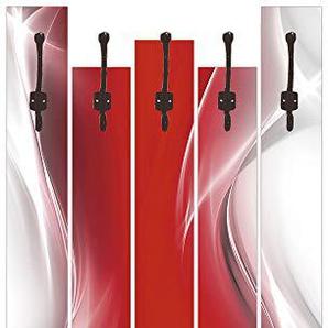 Artland Qualitätsmöbel I Garderobe mit Motiv 5 Holz-Paneele mit Haken 68 x 114 cm Abstrakte Motive Gegenstandslos Digitale Kunst Rot G5RO Kreatives Element Rot für Ihr Art-Design