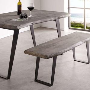 Sitzbank Live-Edge 135x40 Akazie Platin Gestell schräg schwarz, Bänke, Baumkantenmöbel, Massivholzmöbel, Massivholz, Baumkante, Wolf Live Edge