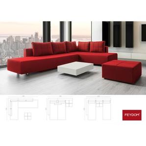 Ecksofa Gästebett Schlafsofa, Webstoff Rot, Verwandlungssofa mit Liegeflächen 200x160cm oder 2x 200x80cm