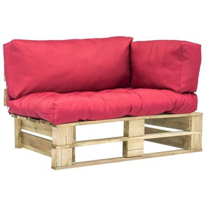 Garten-Palettensofa mit Roten Kissen Kiefernholz - VIDAXL