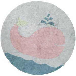 Waschbarer Kinderteppich Bambini Whale Blau ø 150 cm rund