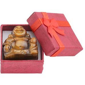 JOVIVI Dekoration Reiki Edelstein Kristall Maitreya Happy Buddha Figur Schutzengel Talisman Glücksbringer Feng Shui Energietherapie Deko (Tigerauge)