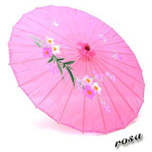 Markenlos Asia Schirm Dekoschirm Fengshui Stoff Bambus 04