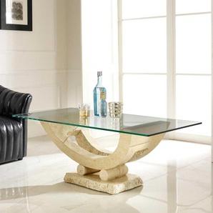 Glas Couchtisch mit Steinfuß mediterran