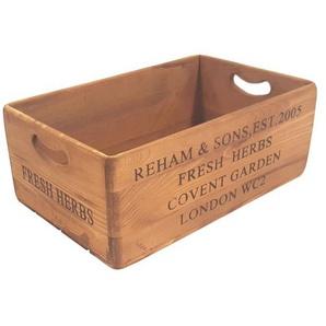 FM Holzbox /Holzkiste 26 x 42 cm FRESH HERBS Antik Braun