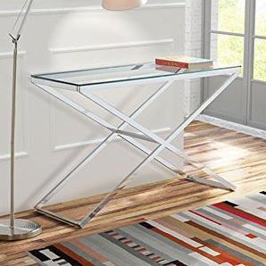 My-Furniture ANIKKA Moderner Chrom - Glas Dielentisch