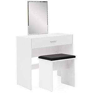 FineBuy Schminktisch mit Spiegel und Hocker 81 x 131 x 39 cm Weiß | Kosmetiktisch mit Klappfach | Frisiertisch Frisierkommode