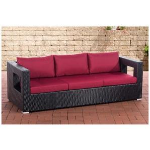 3er Sofa Honolulu rubinrot schwarz - CLP