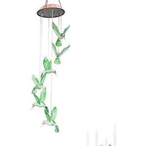 Ledmomo Windspiel, LED, solarbetrieben, wechselt die Farben, Kolibri, für Garten, Terrasse, Veranda, Dekoration für Innen- und Außenbereich
