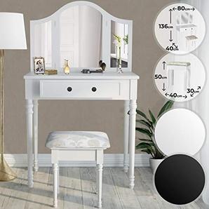 MIADOMODO Schminktisch | in der Farbe Schwarz oder Weiß, mit Schminkhocker und 3 Fach Spiegel | Frisierkommode, Schminkkommode, Kosmetiktisch (Weiss)