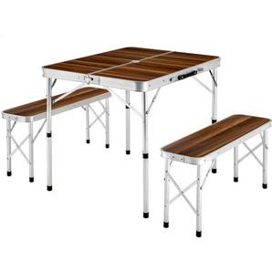 Koffertisch mit 2 Sitzbänken - Camping Tisch, Outdoor Tisch, Campingtisch klappbar - braun - TECTAKE