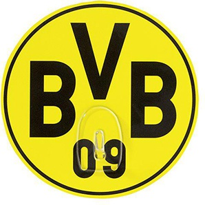 Borussia Dortmund BVB Garderobenhaken, Plastik, schwarz/gelb, 10 x 10 x 1 cm