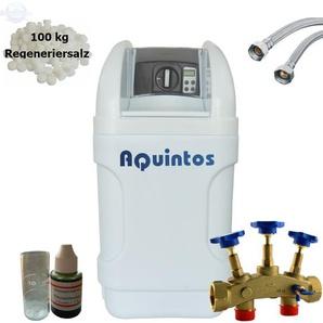 Wasserenthärter MKB 32 Eco-Line von Wasseraufbereitung | Entkalker mit Bypass-Funktion für 100% kalkfreies Wasser | Komplettset inkl. 100 kg Regeneriersalz - AQUINTOS-WASSERAUFBEREITUNG