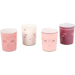 4 Duftlämpchen aus Glas, bedruckt mit Gesichtsmotiv