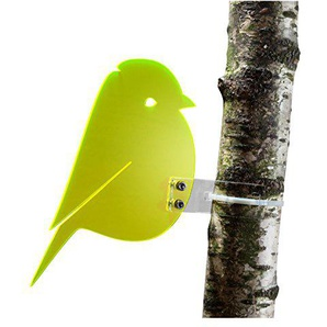 """Sonnenfänger """"Meise"""" aus transparentem Plexiglas (Gelb), fluoreszierend - leuchtende Kanten auch in den Abendstunden, 20 cm Höhe, incl. Montagematerial, Frost- und Witterungsbeständig"""