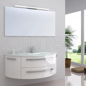 OimexGmbH Design Badmöbel Set Côte dAzur Weiß Hochglanz Waschtisch 120cm inkl. LED Beleuchtung Armatur und Spiegel Badezimmermöbel Set mit Glas Waschbecken