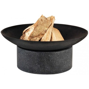 Esschert Design Feuerschale Gusseisen, Ringsockel aus Granito, Ø 59 cm
