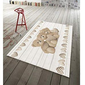 Capitan Casa Teppich Rutschfest in Digitaldruck Linie Gedanken Feinwäsche d. New Bären 152x230 beige