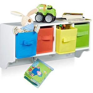Relaxdays Kinder Wandregal ALBUS, Wandgarderobe mit 4 Kleiderhaken, Kinderregal mit 4 bunte Faltboxen, HBT: ca. 28 x 61 x 16 cm, weiß