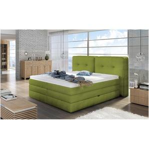 JUSTyou Falun Boxspringbett Continentalbett Amerikanisches Bett Doppelbett Ehebett Gästebett Grün 180x200