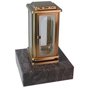 designgrab AML1AGB1Gnei Grablampe Royal aus Edelstahl-bronzefarben Gold 12 x 12 x 23 cm