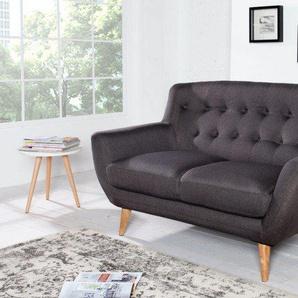 Design 2er Sofa SCANDINAVIA MEISTERSTÜCK 140cm anthrazit 2-Sitzer