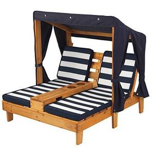 KidKraft 524 Outdoor 2er Lounge Sonnenliege aus Holz mit Getränkehalter - Gartenmöbel für Kinder - dunkelblau & weiß