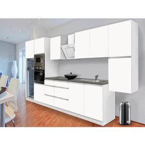 Respekta Premium Küchenzeile Grifflos 385 cm Weiß Matt-Weiß