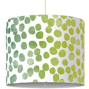 Bilderwelten Kinderlampe Punktemuster Grün Gelb - Lampe - Schirmlampe Punkte Hängelampe Lampenschirm, Größe HxB: 34cm x 40cm