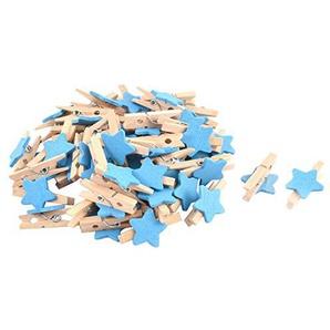 sourcing map 50Stk Karte Foto Papier Wäscheklammer Klammern Stern Mini Holzklammern Blau DE de