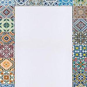 Artland Qualitätsspiegel I Spiegel Wandspiegel Deko Rahmen mit Motiv 60 x 120 cm Abstrakte Motive Muster Foto Bunt F1RO Gemusterte Keramikfliesen