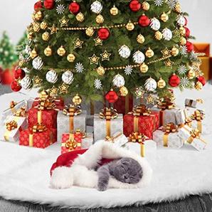 31-Zoll-Plüsch-Weihnachtsbaum-Rock mit rundem Ordnung für Weihnachtsfeiertags-Dekoration - Weiß (Weiß)