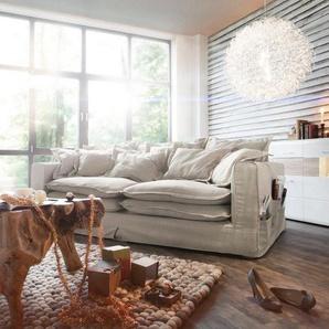 Hussensofa Noelia 240x145 cm Elfenbeinfarben mit Kissen, Big Sofas