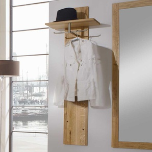 Garderobenpaneel aus Wildeiche Massivholz mit Hutablage