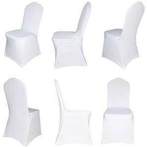 Stuhlhusse Stretch Universal Stuhlüberzug Stuhlbezug weiss (Flach)