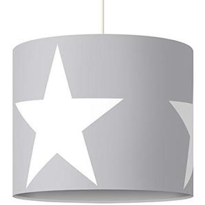 Bilderwelten Hängelampe Große Weiße Sterne auf Grau, Sterne, Grau, Weiß, Sternenhimmel, Größe HxB: 34cm x 40cm