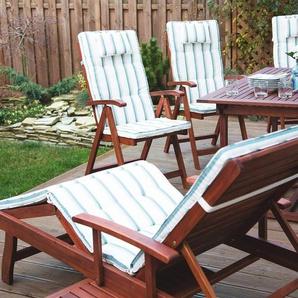 Gartenstuhl Holz mit Auflage beige-grün gestreift TOSCANA