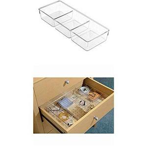 InterDesign Linus Schubladenbox für Schrank oder Schminktisch, 33,0 cm x 12,7 cm x 5,7cm Aufbewahrungsbox mit 3 Fächern aus Kunststoff, durchsichtig + Linus Schubladenbox für Schrank oder Schminktisch