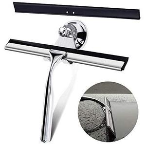 Qcool Duschabzieher Fensterabzieher Edelstahl Duschwischer Ohne Bohren Glasabzieher Dusche mit Saugnapf und Abziehlippe für Badezimmer Spiegel Fenster Glas