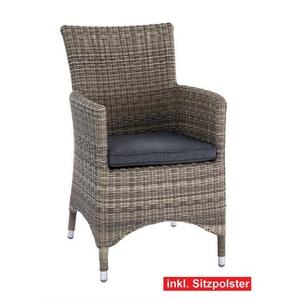 OUTDOOR Sessel /Gartenstuhl mit Armlehnen und Polster GALERA Kunststoffgeflecht Grau