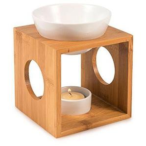 Pajoma Bambus/Keramik Duftlampe ICE Mini , L 9,5 x B 9,5 x H 9,5 cm