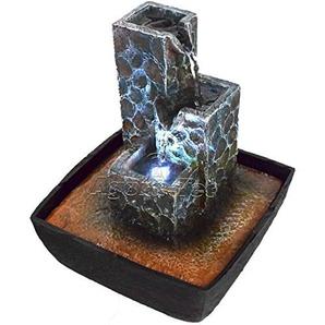Agora-Tec® Wasserspiel & Zimmerbrunnen Kaskade mit kaskadenförmig angeordneten Felssteinen mit LED Beleuchtung, sehr angenehmer leiser Wasserlauf 21 cm hoch