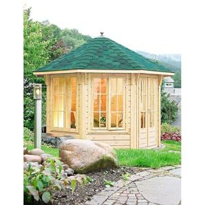WOLFF FINNHAUS Holzpavillon »Capri 3.5«, BxT: 430x430 cm, mit grün-schwarzen Schindeln