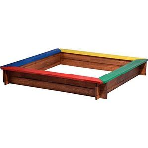 dobar 94305FSC Viereckiger Sandkasten mit 4 bunten Sitzflächen aus FSC-zertifiziertem Kiefernholz, ca. 117 x 117 x 18 cm