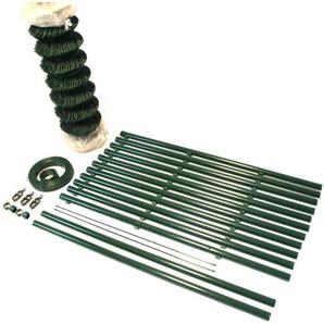 Maschendrahtzaun Set Gartenzaun PVC-beschichtet GRÜN 1,25m x 100m - TOP MULTISHOP