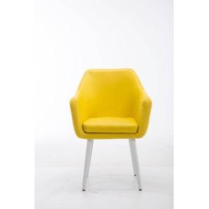 Besucherstuhl Utrecht Kunstleder Weiß gelb