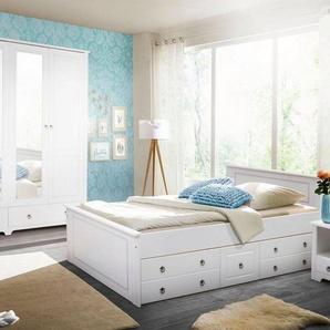Home affaire Schlafzimmer-Set »Hugo«, (Set, 4-tlg), Bett 180 cm, 5-trg Kleiderschrank und 2 Nachttische, weiß
