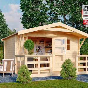 KONIFERA Set: Gartenhaus »Sonnenberg 3«, BxT: 405x422 cm, inkl. Vordach und Terrasse