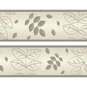Kleisterbordüre trockene Blätter, 4-teilig 520x15cm, Tapetenbordüre, Wandbordüre, Borte, Wanddeko,Natur, beige