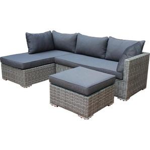 Lounge - Set VILETTA, Aluminium + Polyrattan hellgrau, Polster dunkelgrau - DEGAMO